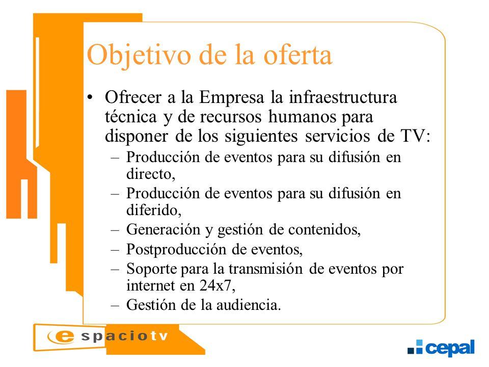 Objetivo de la oferta Ofrecer a la Empresa la infraestructura técnica y de recursos humanos para disponer de los siguientes servicios de TV: –Producci