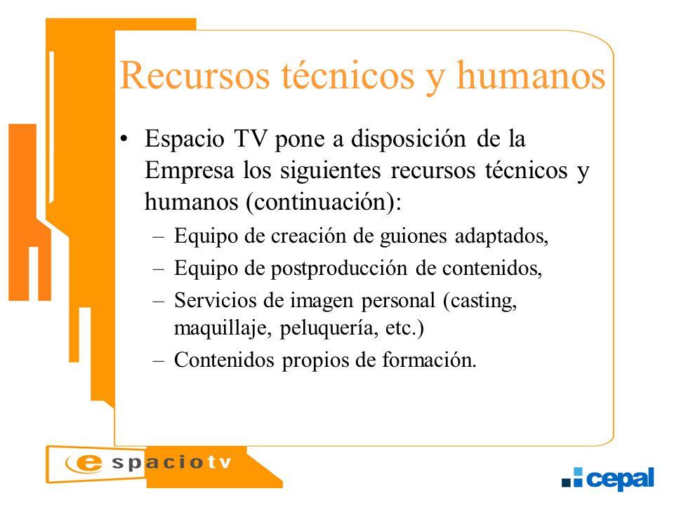 Recursos técnicos y humanos Espacio TV pone a disposición de la Empresa los siguientes recursos técnicos y humanos (continuación): –Equipo de creación