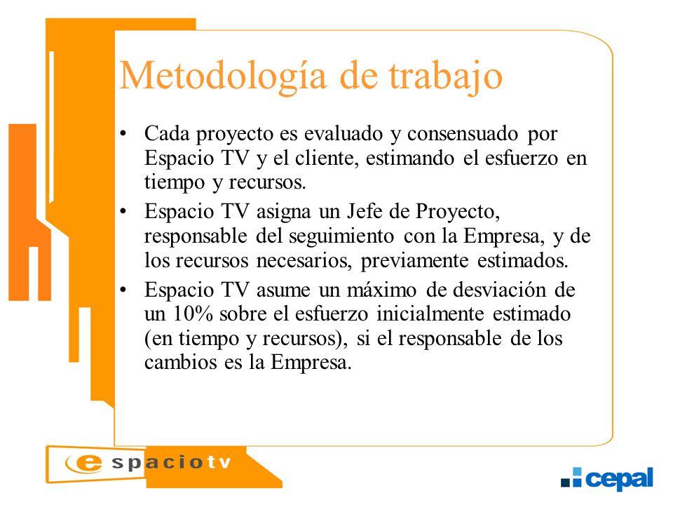 Metodología de trabajo Cada proyecto es evaluado y consensuado por Espacio TV y el cliente, estimando el esfuerzo en tiempo y recursos. Espacio TV asi