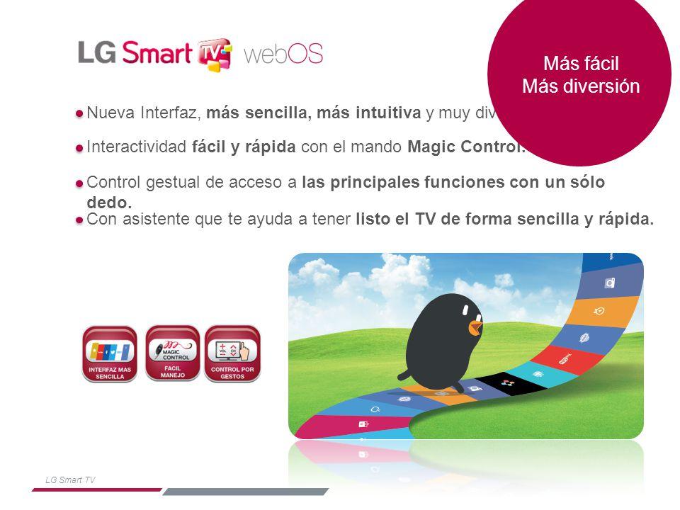 LG Smart TV Más fácil Más diversión Aplicaciones destacad as: Contenidos destacad os para toda la familia: Y omvi, RTVE, Wuaki, Cos mo, Pocoyó, Skype… Acceso directo a los ser vicios abiertos: Abre lo ú ltimo que has visto (canal es, aplicaciones…) Todos los servicios del tel evisor: Entradas, Smartsha re, TV directo, App descarg adas, tienda de App´s SERVICIOS STAND BYDESTACADOSTODOS LOS SERVICIOS