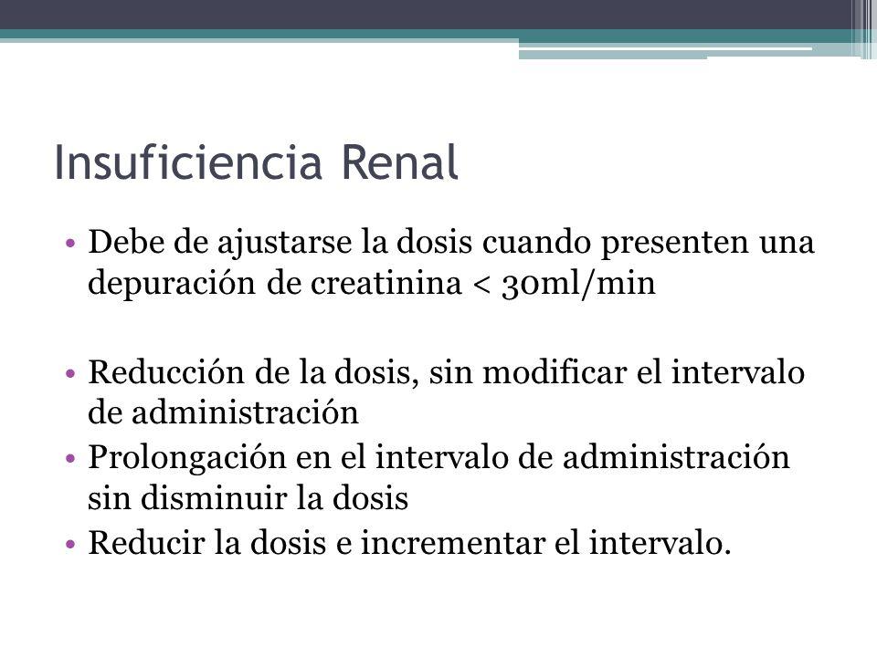 Debe de ajustarse la dosis cuando presenten una depuración de creatinina < 30ml/min Reducción de la dosis, sin modificar el intervalo de administració