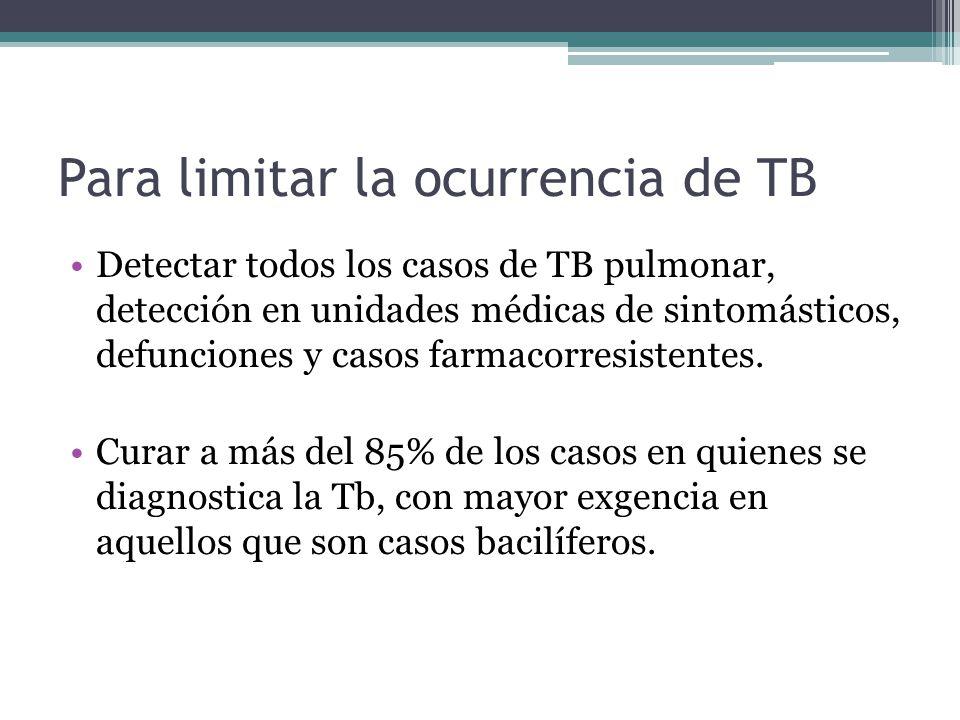 Para limitar la ocurrencia de TB Detectar todos los casos de TB pulmonar, detección en unidades médicas de sintomásticos, defunciones y casos farmacor