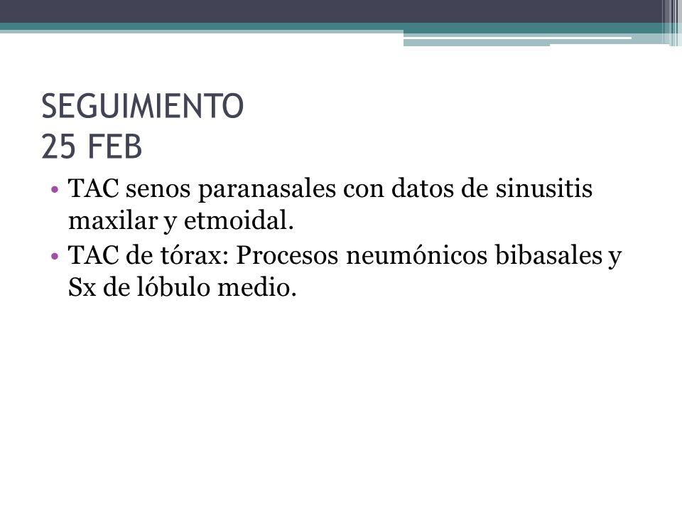 SEGUIMIENTO 25 FEB TAC senos paranasales con datos de sinusitis maxilar y etmoidal. TAC de tórax: Procesos neumónicos bibasales y Sx de lóbulo medio.