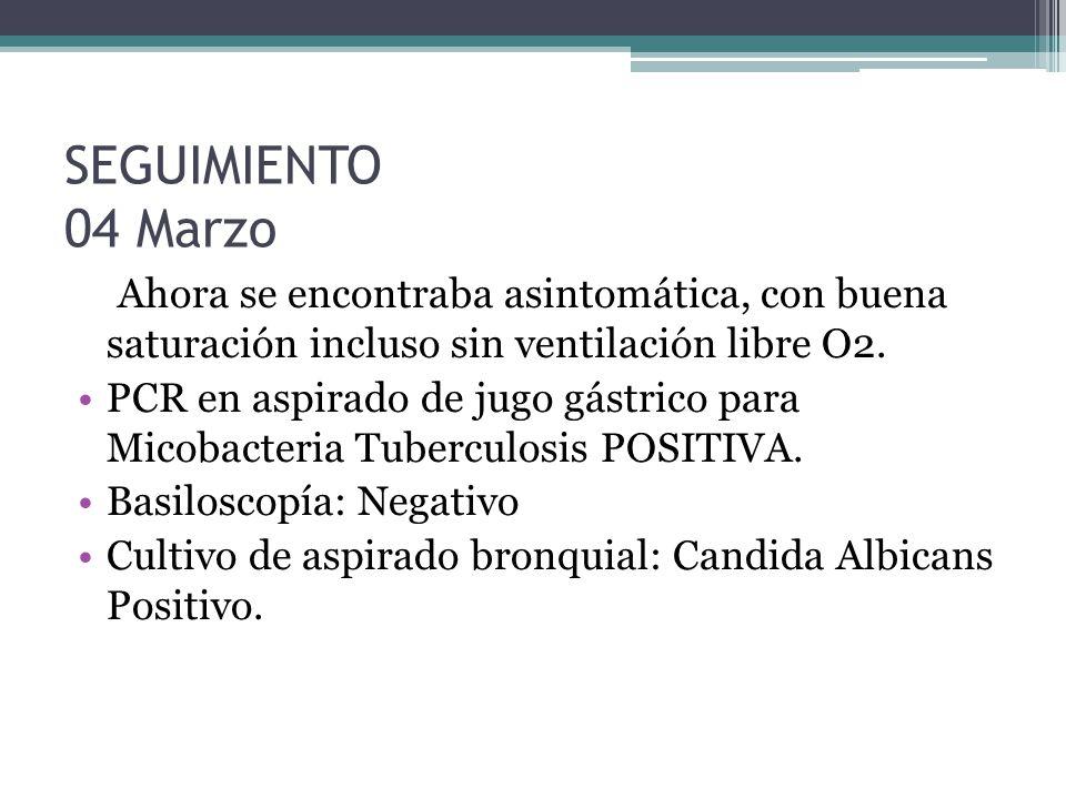 SEGUIMIENTO 04 Marzo Ahora se encontraba asintomática, con buena saturación incluso sin ventilación libre O2. PCR en aspirado de jugo gástrico para Mi