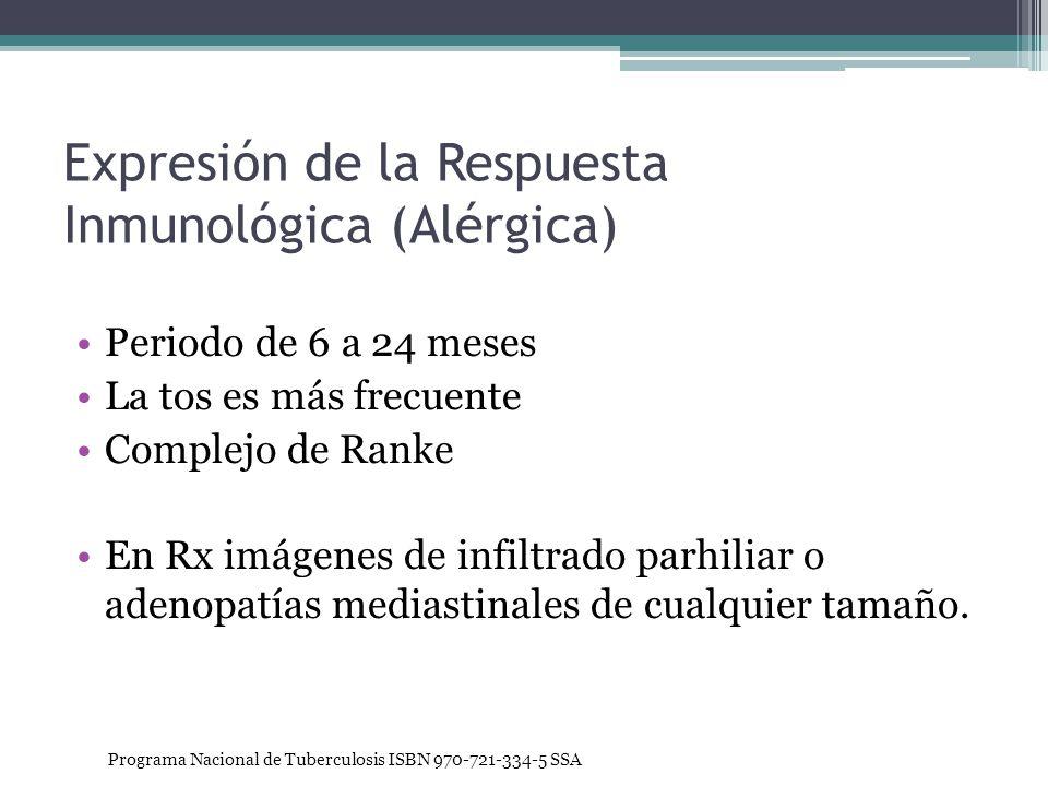 Expresión de la Respuesta Inmunológica (Alérgica) Periodo de 6 a 24 meses La tos es más frecuente Complejo de Ranke En Rx imágenes de infiltrado parhi
