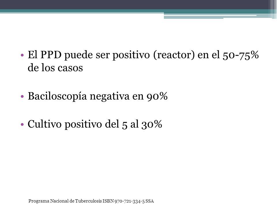 El PPD puede ser positivo (reactor) en el 50-75% de los casos Baciloscopía negativa en 90% Cultivo positivo del 5 al 30% Programa Nacional de Tubercul