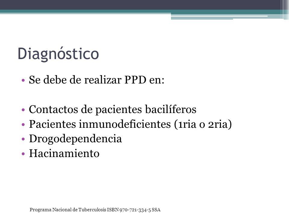 Diagnóstico Se debe de realizar PPD en: Contactos de pacientes bacilíferos Pacientes inmunodeficientes (1ria o 2ria) Drogodependencia Hacinamiento Pro