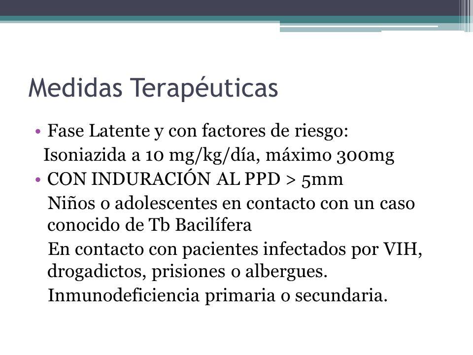 Medidas Terapéuticas Fase Latente y con factores de riesgo: Isoniazida a 10 mg/kg/día, máximo 300mg CON INDURACIÓN AL PPD > 5mm Niños o adolescentes e