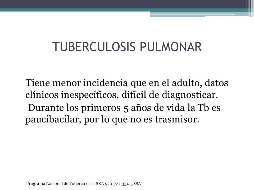 TUBERCULOSIS PULMONAR Tiene menor incidencia que en el adulto, datos clínicos inespecíficos, difícil de diagnosticar. Durante los primeros 5 años de v