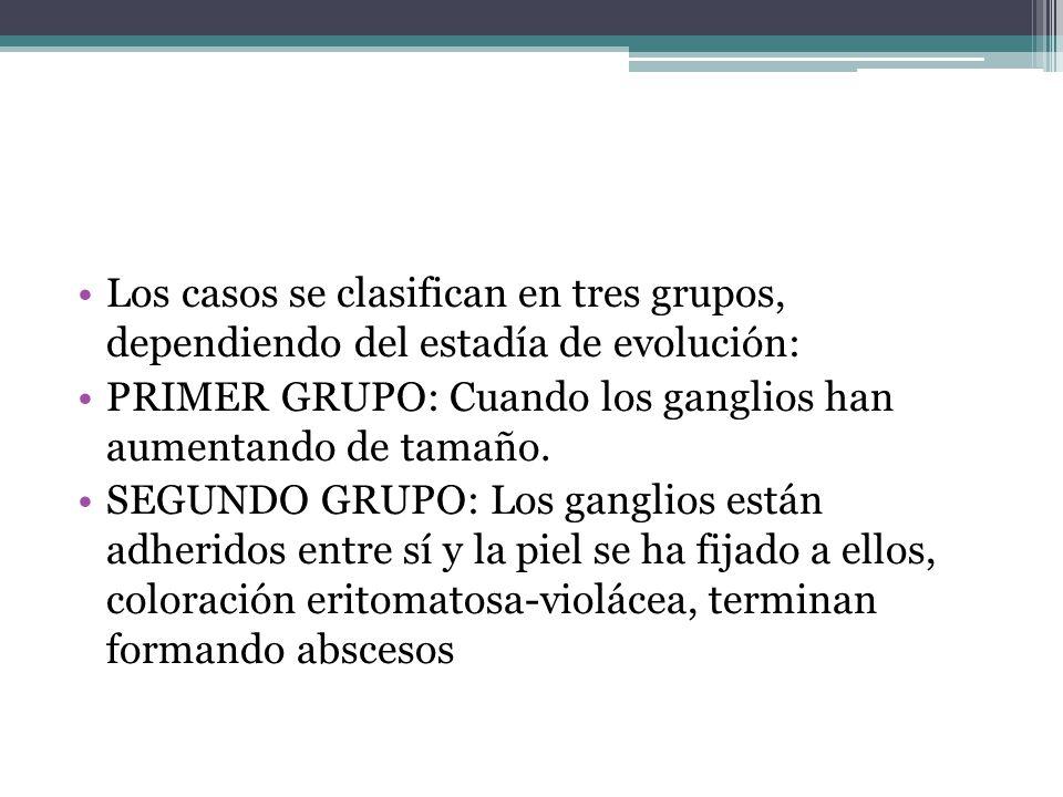 Los casos se clasifican en tres grupos, dependiendo del estadía de evolución: PRIMER GRUPO: Cuando los ganglios han aumentando de tamaño. SEGUNDO GRUP