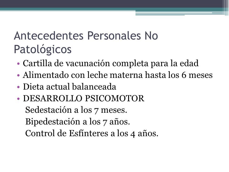 Personales Patológicos Epilepsia desde los 2 años de edad controlada con Topiramato y Ac.