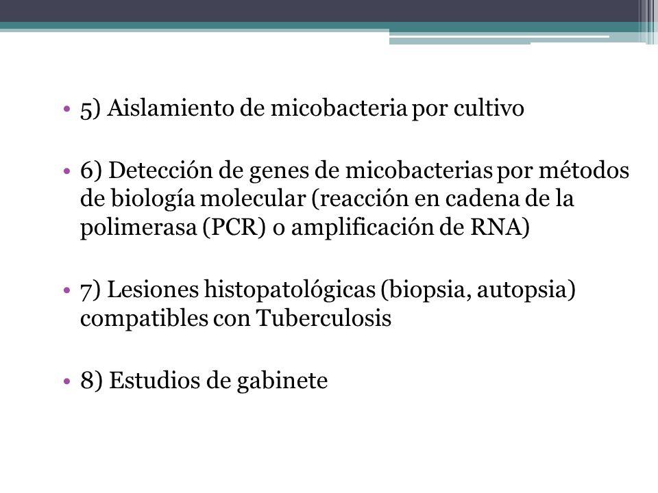 5) Aislamiento de micobacteria por cultivo 6) Detección de genes de micobacterias por métodos de biología molecular (reacción en cadena de la polimera