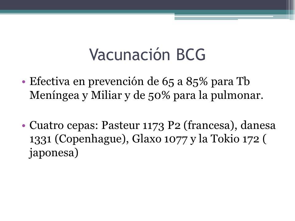 Vacunación BCG Efectiva en prevención de 65 a 85% para Tb Meníngea y Miliar y de 50% para la pulmonar. Cuatro cepas: Pasteur 1173 P2 (francesa), danes