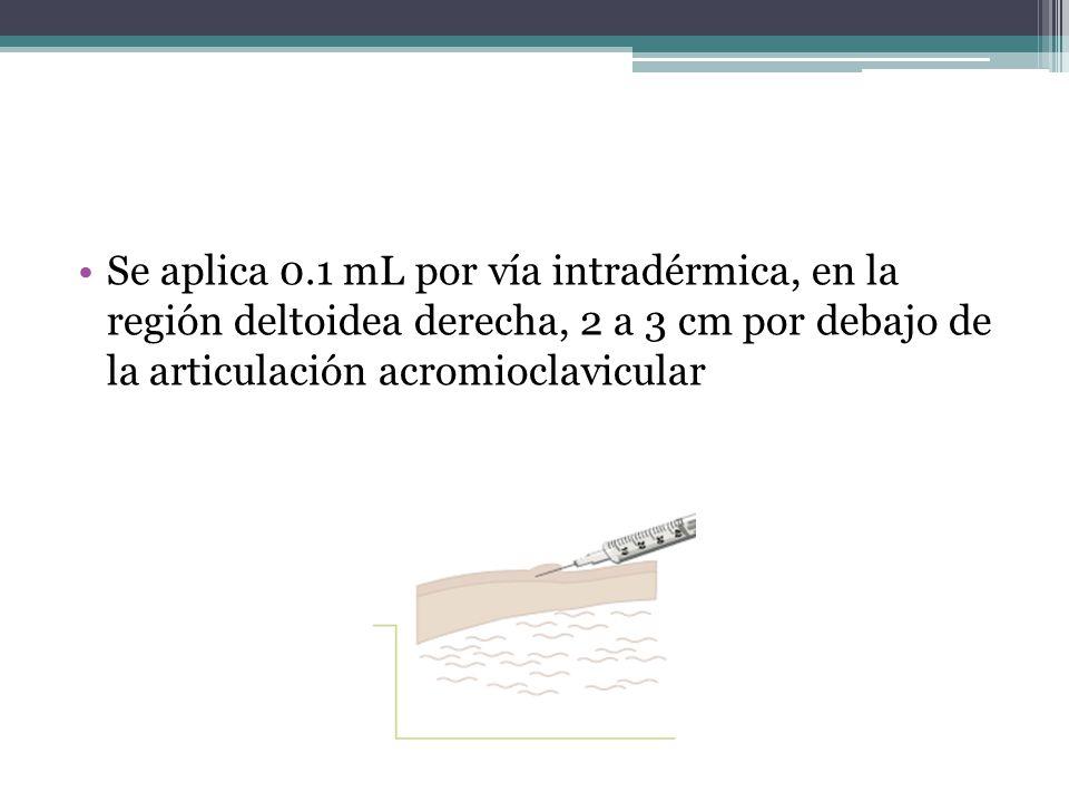 Se aplica 0.1 mL por vía intradérmica, en la región deltoidea derecha, 2 a 3 cm por debajo de la articulación acromioclavicular