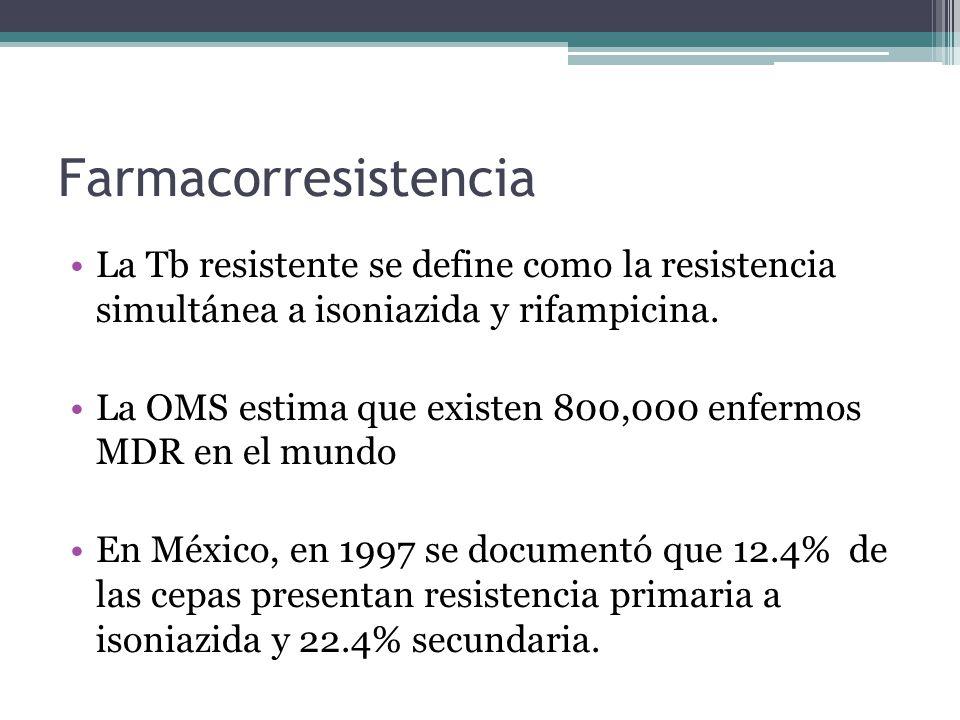 Farmacorresistencia La Tb resistente se define como la resistencia simultánea a isoniazida y rifampicina. La OMS estima que existen 800,000 enfermos M