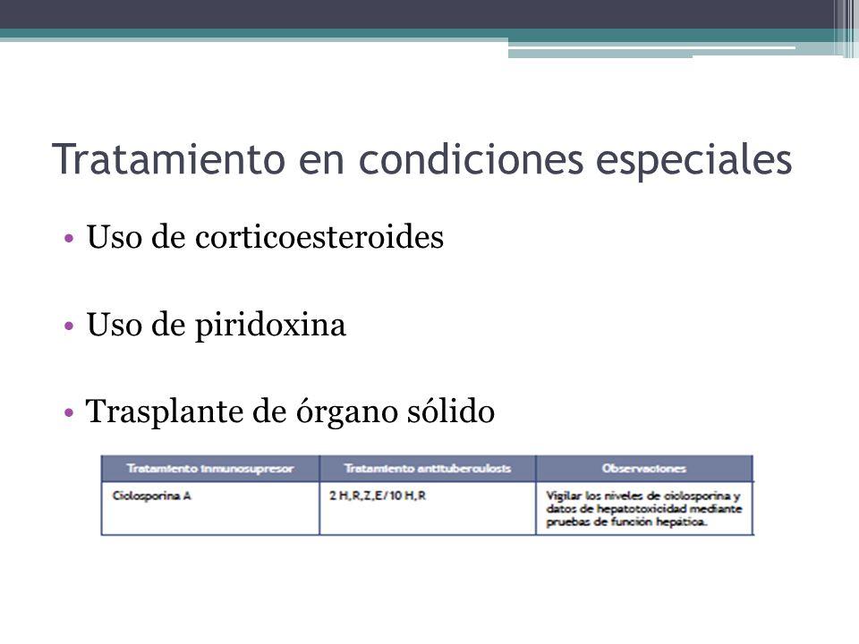 Tratamiento en condiciones especiales Uso de corticoesteroides Uso de piridoxina Trasplante de órgano sólido