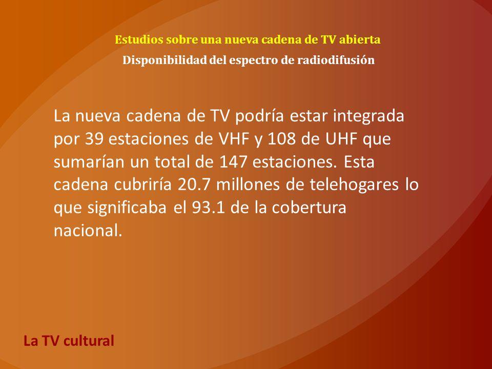 Estudios sobre una nueva cadena de TV abierta Disponibilidad del espectro de radiodifusión La nueva cadena de TV podría estar integrada por 39 estacio