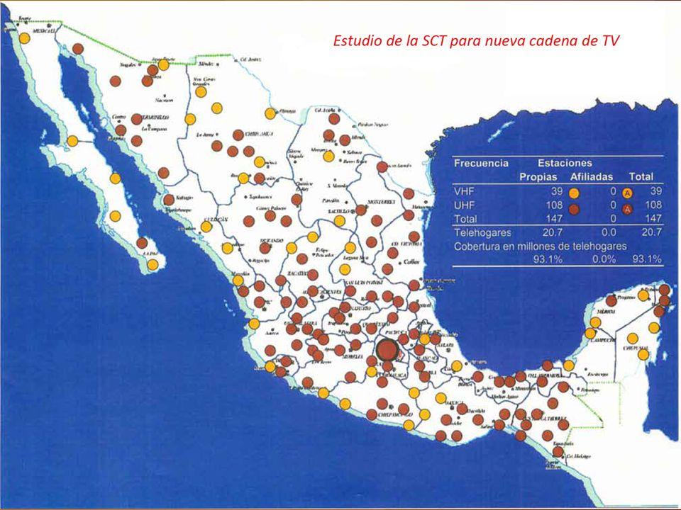 Estudios sobre una nueva cadena de TV abierta Disponibilidad del espectro de radiodifusión Al advertirse que había gran oposición por parte de Televisa y TV Azteca al otorgamiento de esta nueva cadena, el gobierno de Vicente Fox detuvo el proceso y lo dejó para decisión de la siguiente administración de Felipe Calderón.