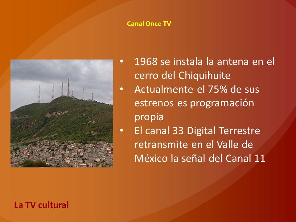 1968 se instala la antena en el cerro del Chiquihuite Actualmente el 75% de sus estrenos es programación propia El canal 33 Digital Terrestre retransm