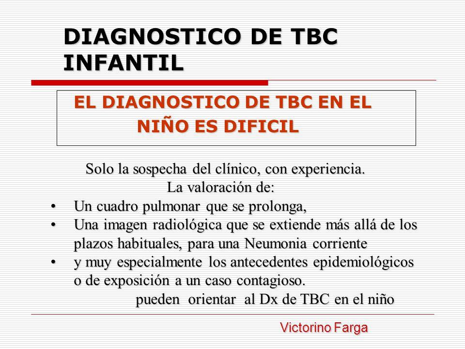 DIAGNOSTICO DE TBC INFANTIL EL DIAGNOSTICO DE TBC EN EL EL DIAGNOSTICO DE TBC EN EL NIÑO ES DIFICIL NIÑO ES DIFICIL Solo la sospecha del clínico, con