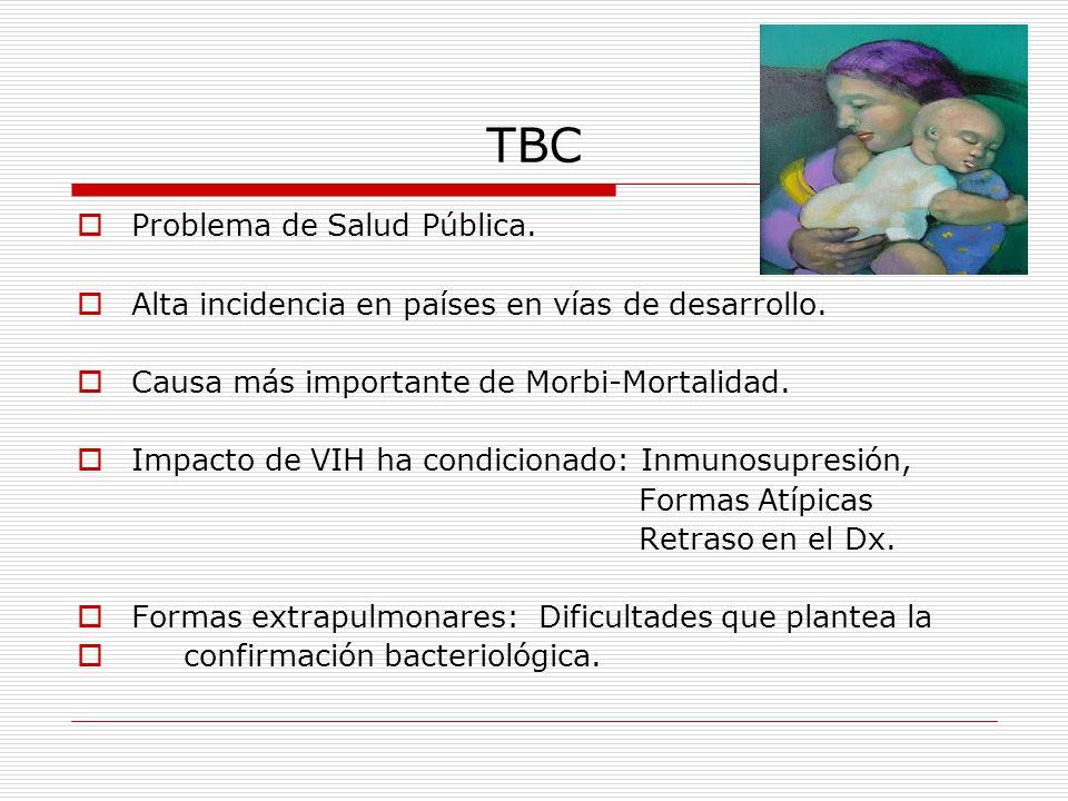 TBC Problema de Salud Pública. Alta incidencia en países en vías de desarrollo. Causa más importante de Morbi-Mortalidad. Impacto de VIH ha condiciona
