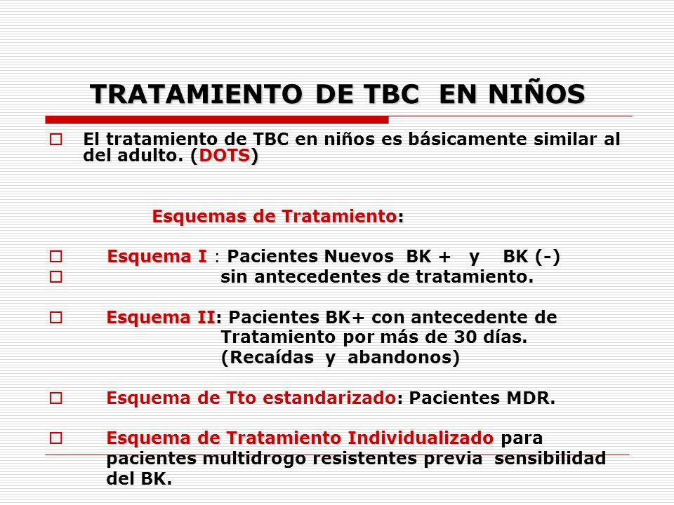 TRATAMIENTO DE TBC EN NIÑOS DOTS) El tratamiento de TBC en niños es básicamente similar al del adulto. (DOTS) Esquemas de Tratamiento: Esquemas de Tra