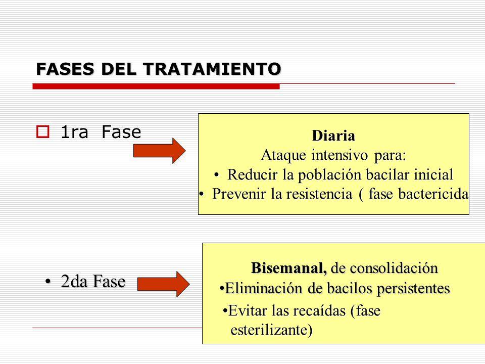 FASES DEL TRATAMIENTO 1ra Fase Diaria Ataque intensivo para: Reducir la población bacilar inicial Reducir la población bacilar inicial Prevenir la res