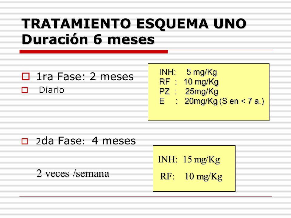 TRATAMIENTO ESQUEMA UNO Duración 6 meses 1ra Fase: 2 meses Diario 2 da Fase : 4 meses INH: 15 mg/Kg RF: 10 mg/Kg 2 veces /semana INH: 5 mg/Kg RF : 10