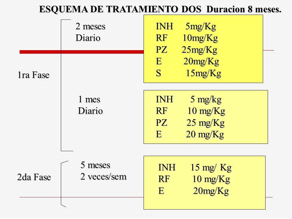 INH 5mg/Kg RF 10mg/Kg PZ 25mg/Kg E 20mg/Kg S 15mg/Kg INH 5 mg/kg RF 10 mg/Kg PZ 25 mg/Kg E 20 mg/Kg INH 15 mg/ Kg RF 10 mg/Kg E 20mg/Kg 2 meses Diario