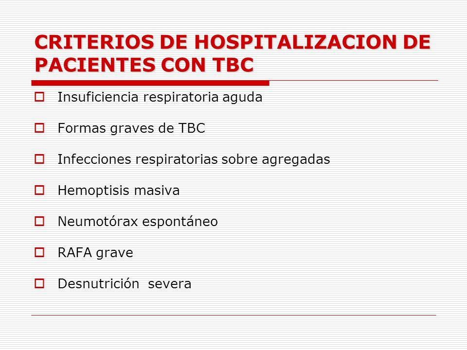 CRITERIOS DE HOSPITALIZACION DE PACIENTES CON TBC Insuficiencia respiratoria aguda Formas graves de TBC Infecciones respiratorias sobre agregadas Hemo