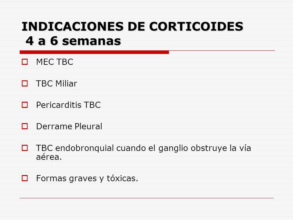 INDICACIONES DE CORTICOIDES 4 a 6 semanas MEC TBC TBC Miliar Pericarditis TBC Derrame Pleural TBC endobronquial cuando el ganglio obstruye la vía aére