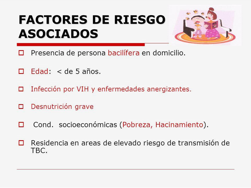 FACTORES DE RIESGO ASOCIADOS Presencia de persona bacilífera en domicilio. Edad: < de 5 años. Infección por VIH y enfermedades anergizantes. Desnutric