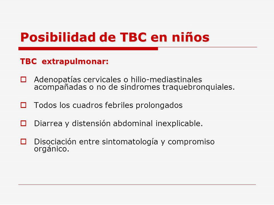 FORMAS CLÍNICAS DE LA TBC INFANTIL PULMONARES EXTRAPULMONARES DISEMINADAS COMPLEJOPRIMARIO FORMAPULMONARPROGRESIVA TBC PULMONAR TIPO ADULTO TBC PLEURAL TBC GANGLIONAR TBC OSTEOARTICULAR TBC PERITONEAL TBC CUTANEA TBC MILIAR MEC TBC