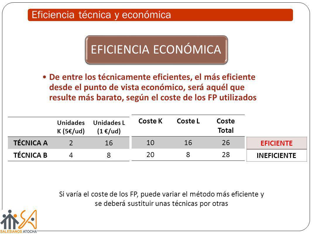 Eficiencia técnica y económica EFICIENCIA ECONÓMICA De entre los técnicamente eficientes, el más eficiente desde el punto de vista económico, será aqu