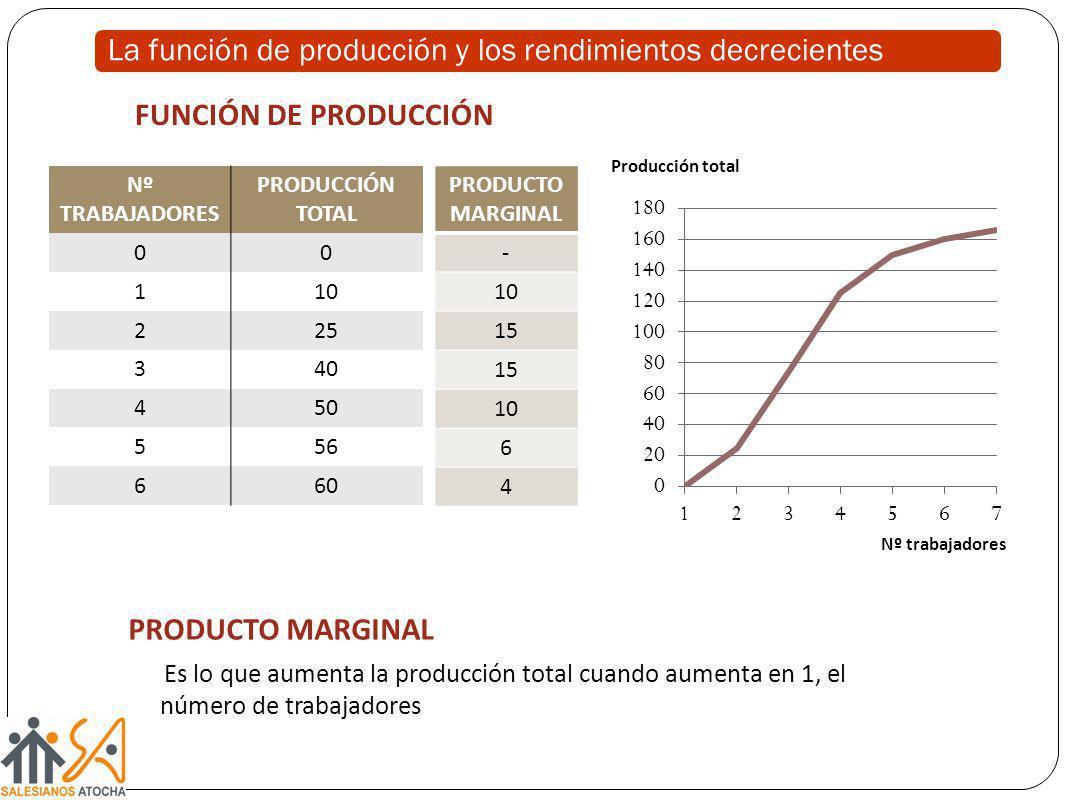 La función de producción y los rendimientos decrecientes Nº TRABAJADORES PRODUCCIÓN TOTAL 00 110 225 340 450 556 660 PRODUCTO MARGINAL - 10 15 10 6 4