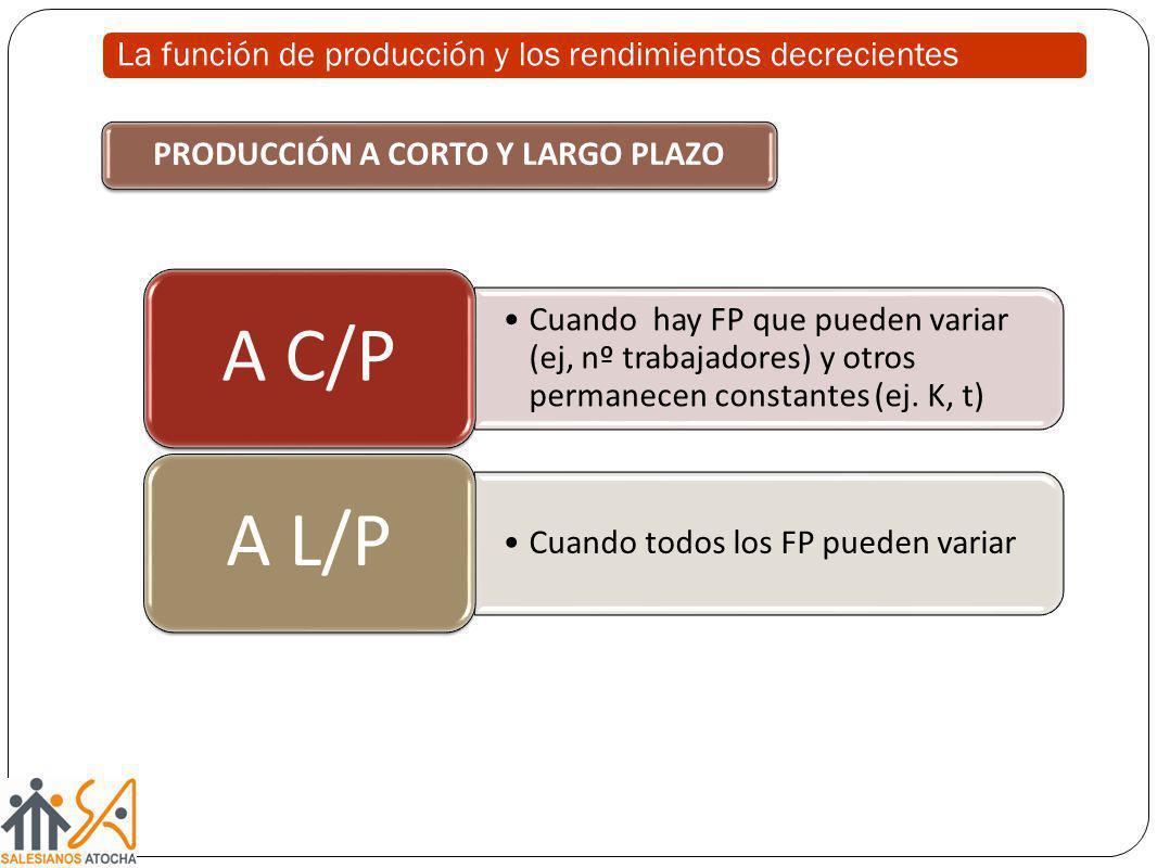 Cuando hay FP que pueden variar (ej, nº trabajadores) y otros permanecen constantes (ej. K, t) A C/P Cuando todos los FP pueden variar A L/P PRODUCCIÓ