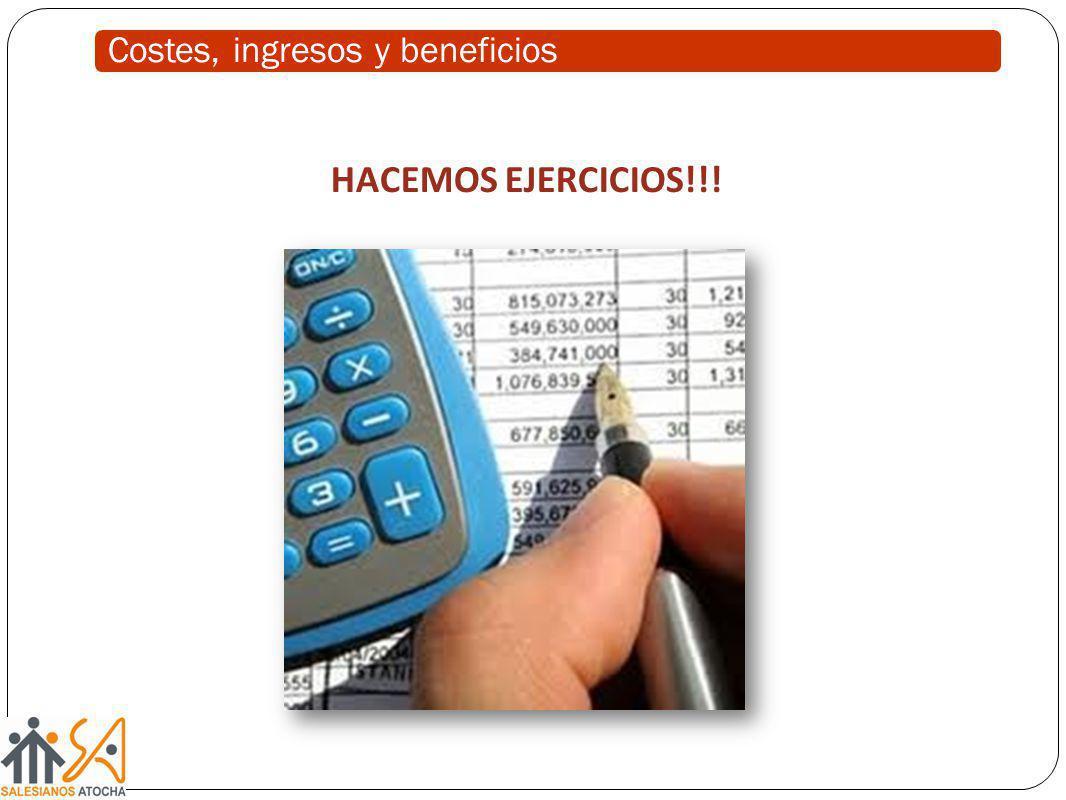 HACEMOS EJERCICIOS!!! Costes, ingresos y beneficios