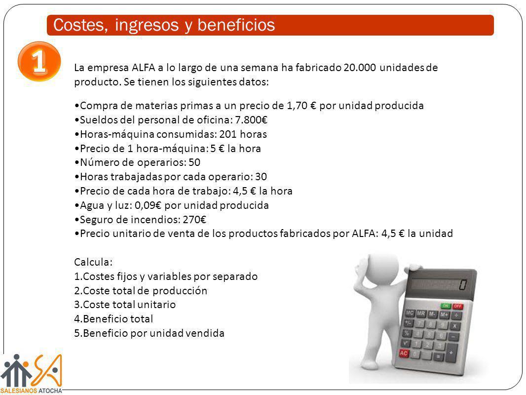 La empresa ALFA a lo largo de una semana ha fabricado 20.000 unidades de producto. Se tienen los siguientes datos: Compra de materias primas a un prec