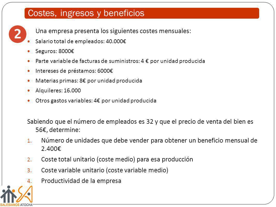 Una empresa presenta los siguientes costes mensuales: Salario total de empleados: 40.000 Seguros: 8000 Parte variable de facturas de suministros: 4 po