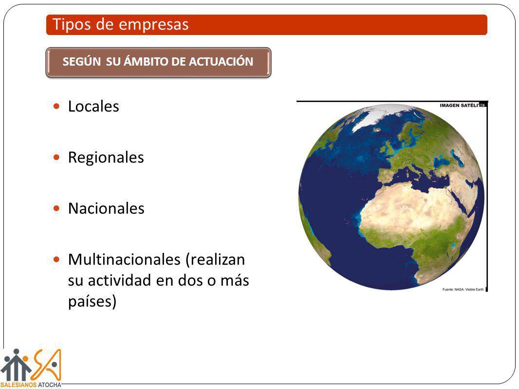 Tipos de empresas SEGÚN SU ÁMBITO DE ACTUACIÓN Locales Regionales Nacionales Multinacionales (realizan su actividad en dos o más países)