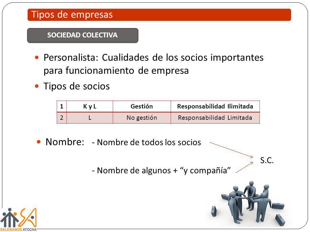 Personalista: Cualidades de los socios importantes para funcionamiento de empresa Tipos de socios Tipos de empresas SOCIEDAD COLECTIVA 1K y LGestiónRe