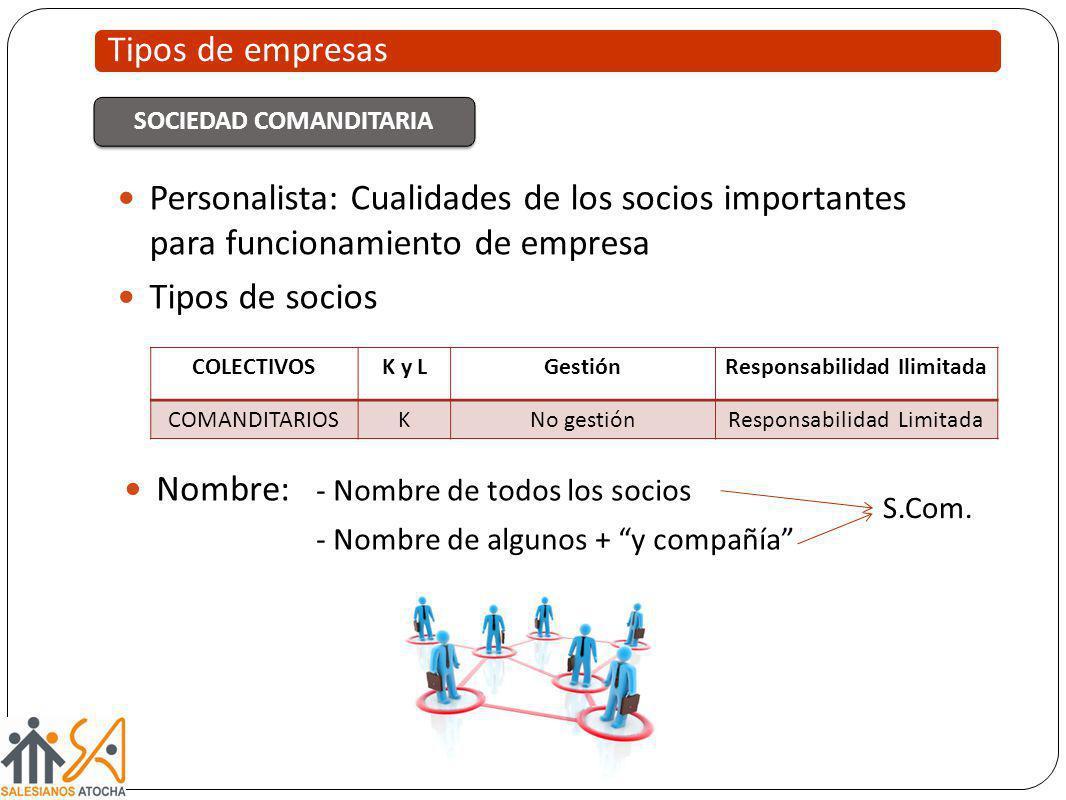 Tipos de empresas SOCIEDAD COMANDITARIA Personalista: Cualidades de los socios importantes para funcionamiento de empresa Tipos de socios COLECTIVOSK