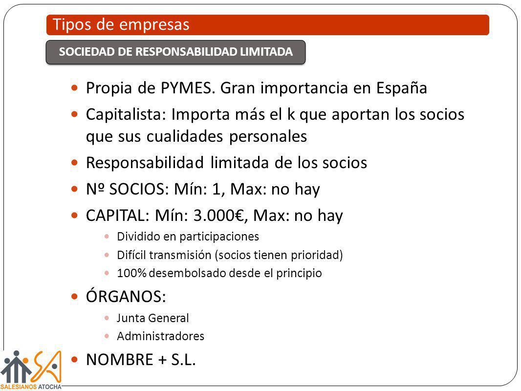 Propia de PYMES. Gran importancia en España Capitalista: Importa más el k que aportan los socios que sus cualidades personales Responsabilidad limitad