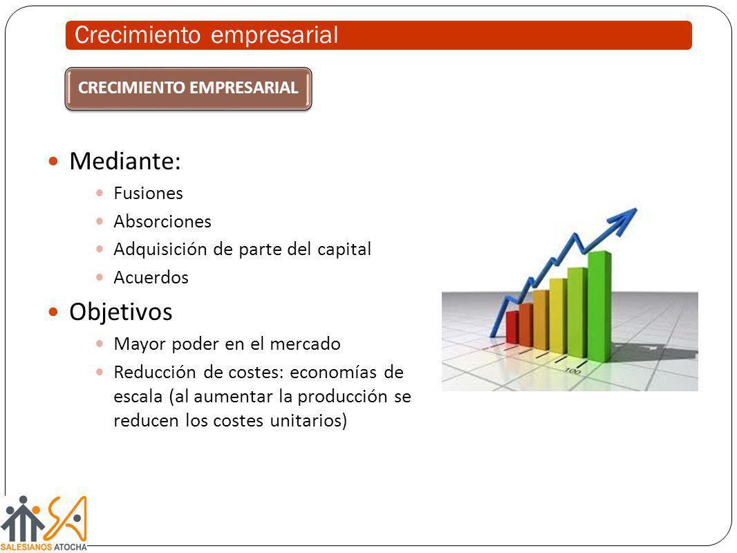 Mediante: Fusiones Absorciones Adquisición de parte del capital Acuerdos Objetivos Mayor poder en el mercado Reducción de costes: economías de escala
