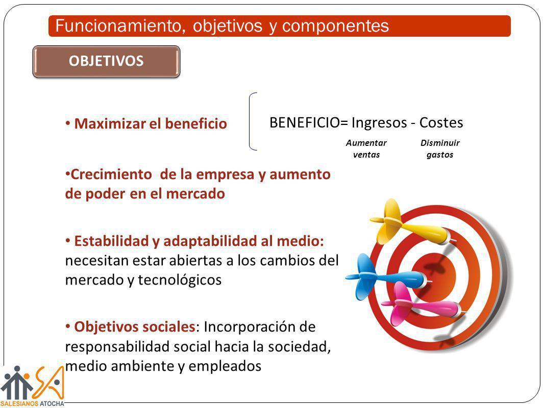 BENEFICIO= Ingresos - Costes Crecimiento de la empresa y aumento de poder en el mercado Estabilidad y adaptabilidad al medio: necesitan estar abiertas