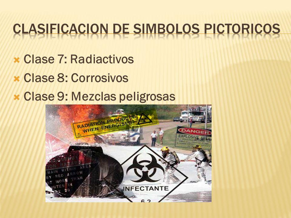 Clase 7: Radiactivos Clase 8: Corrosivos Clase 9: Mezclas peligrosas
