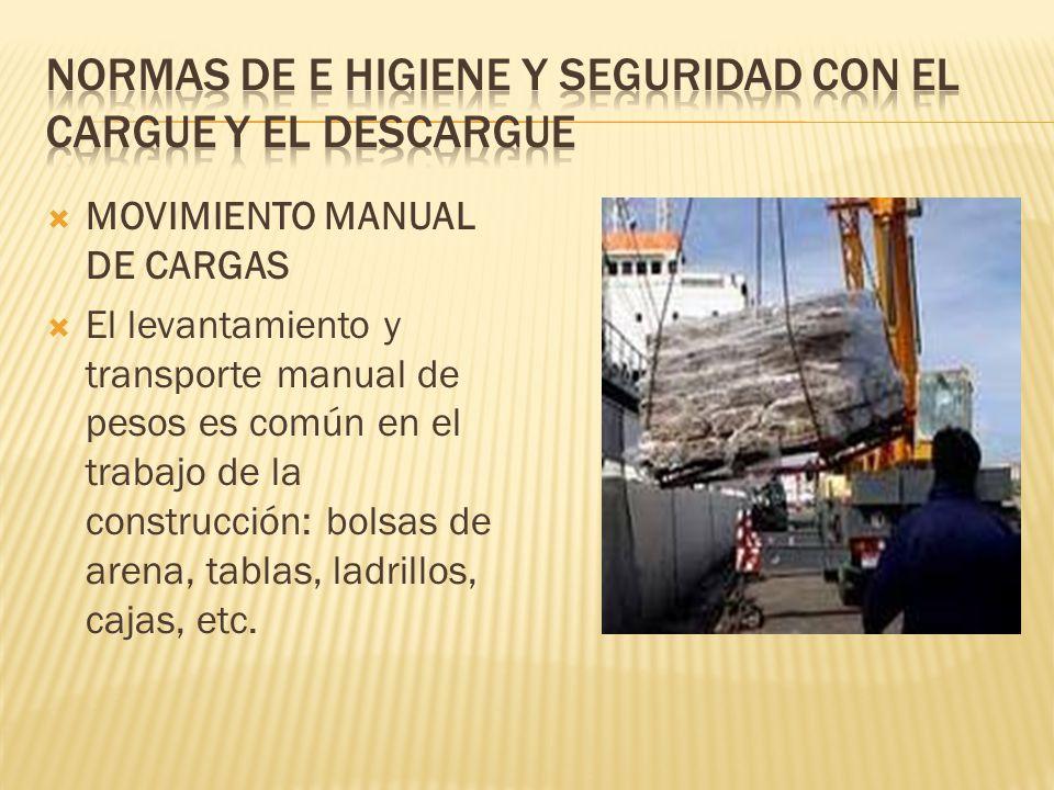 MOVIMIENTO MANUAL DE CARGAS El levantamiento y transporte manual de pesos es común en el trabajo de la construcción: bolsas de arena, tablas, ladrillo