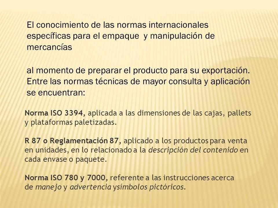 El conocimiento de las normas internacionales específicas para el empaque y manipulación de mercancías al momento de preparar el producto para su expo