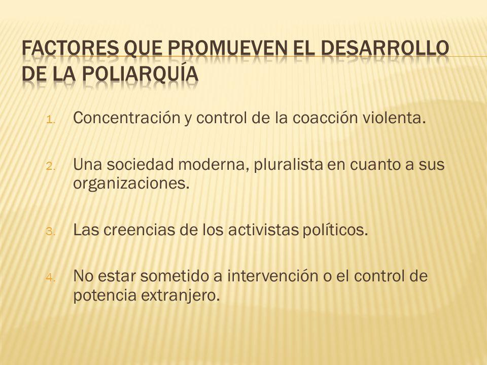 1. Concentración y control de la coacción violenta. 2. Una sociedad moderna, pluralista en cuanto a sus organizaciones. 3. Las creencias de los activi