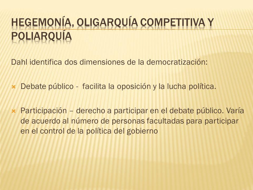 Dahl identifica dos dimensiones de la democratización: Debate público - facilita la oposición y la lucha política. Participación – derecho a participa